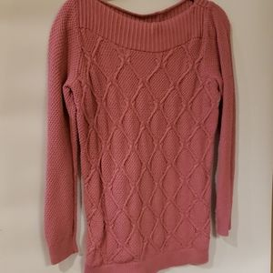 4/$25 Loft Rose colored cable knit sweater M